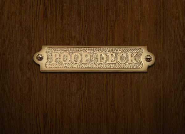Poop Deck Brass Sign