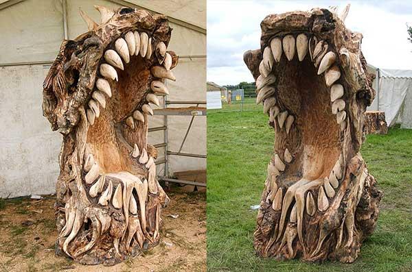 Chainsaw Art Dragon Head Throne