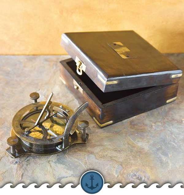 Brass Sundial And Compass With Wood Box